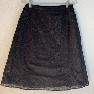 A-line Midi Burnout Skirt with Lining